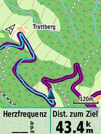 Noch 43,4 km bis zum Ziel (Navi-Screen #3)