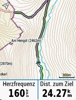 Die Höhenlinien sind vor allem im Gelände hilfreich.