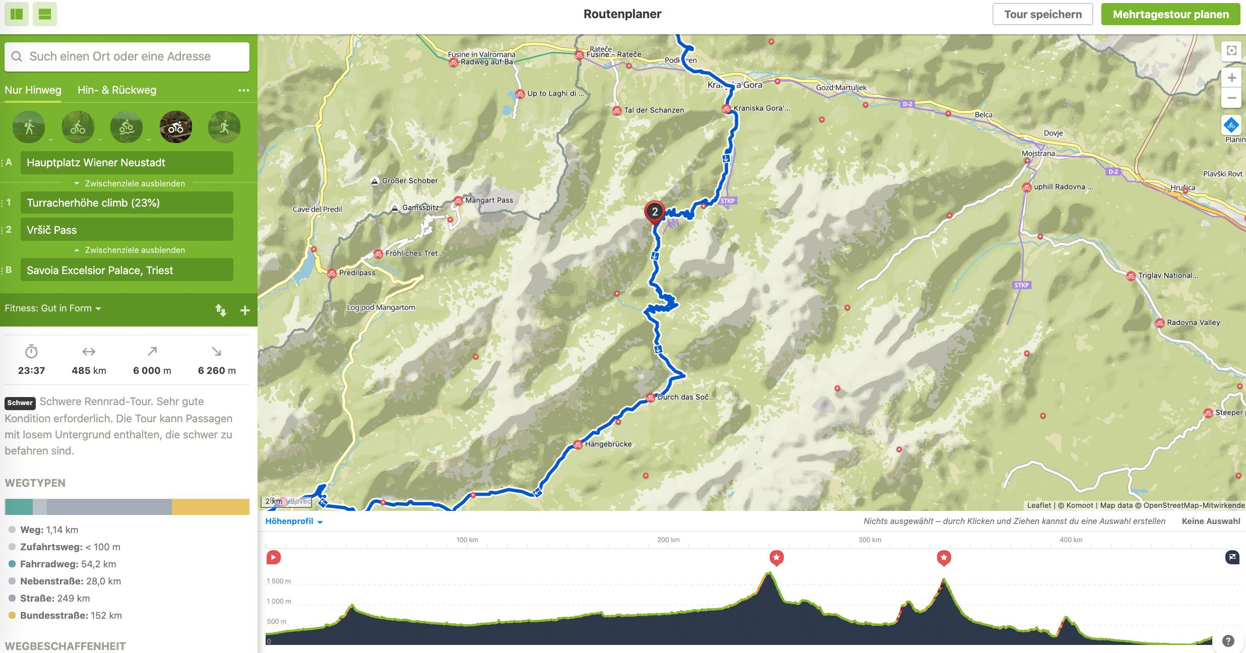 Wenige Mausklicks später steht unsere grobe Route über die Turracher Höhe und den Wurzen- und Vrsicpass