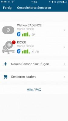 Sensoren-Übersicht (hier: KICKR und CADENCE)
