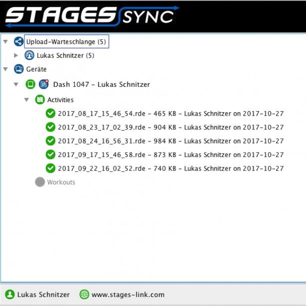 ... oder über USB und Stages Sync vom Desktop aus synchronisieren. Mit Sync können die Fahrten auch direkt als .fit Dateien exportiert werdeb - etwa für Golden Cheetah und Co.