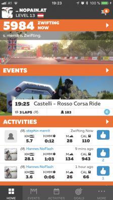 Welcome Screen mit einer Kurzübersicht über aktuelle Zwifter, anstehende Events und aktive Kollegen