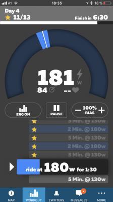 Kürzlich hinzugefügter Workout-Screen mit den wichtigsten Trainings-Infos plus einer Extraportion Motivation.