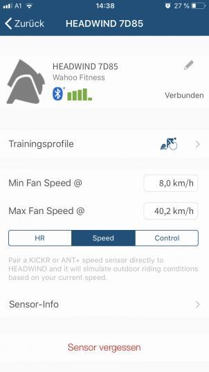 Automatische Steuerung per ANT+ Geschwindigkeitssensor