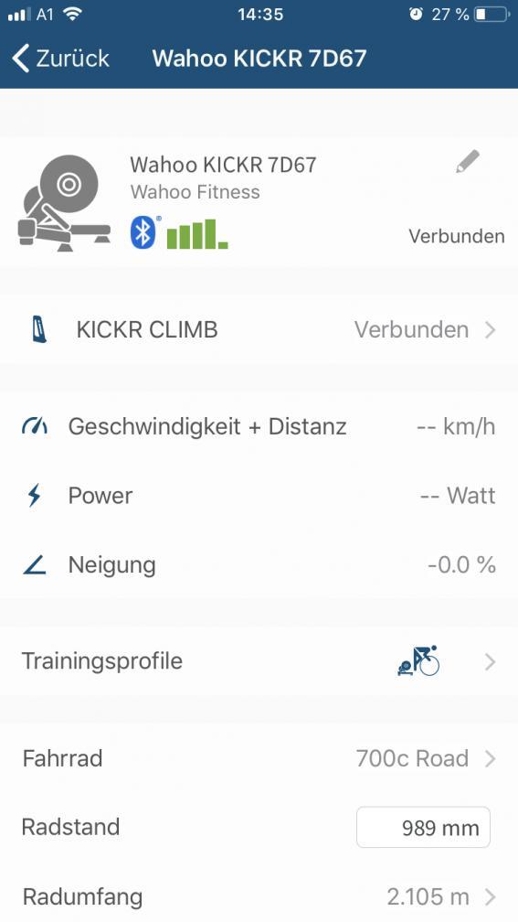 Die Einstellung des Radstands beeinflusst die Nivellierung des KICKR Climb.