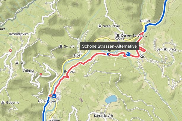 Nach Tolmin gibt's eine schöne Straßenalternative, die zwar ein paar KIlometer Umweg bedeuten...