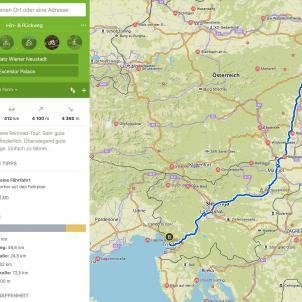 Am Rennrad wäre der schnellste Weg via Eurovelo 9 und Maribor