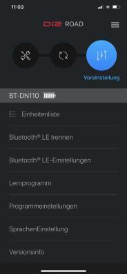"""Die Konfiguration kann jederzeit im Hauptmenü durch Anwählen von """"Bluetooth LE trennen"""" beendet werden. Alle Daten werden automatisch gesichert und an das Di2-Schaltsystem des Rades übertragen."""