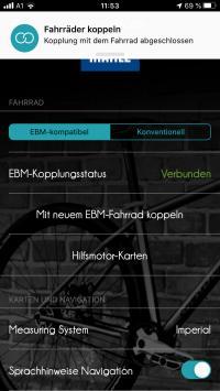 Die ebikemotion-App zeigt die Daten am Handy.
