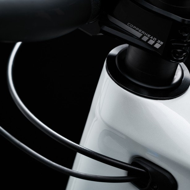 Spezielle Head-Cups adaptieren den Lenkwinkel zwischen 63 und 65.5°.