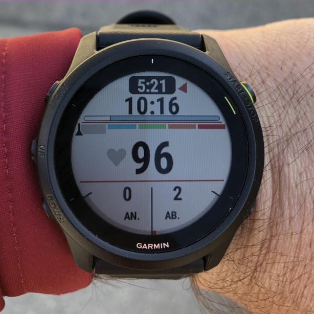 Ein Favorit im Laufmodus, aber auch für flotte Wanderungen: Pace, Herzfrequenz und die positiven und negativen Höhenmeter.