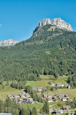 Im Hintergrund thront der Loser - ein 1837 m ü. A. hoher Gipfel im Ausseerland in der Steiermark.