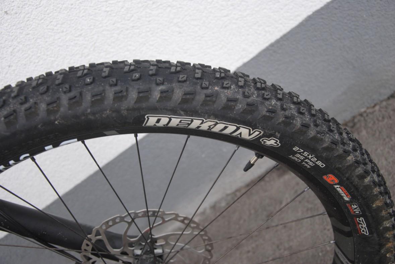 Das eBIG.Trail rollt auf breiten Maxxis Rekon Reifen im Plus-Format.